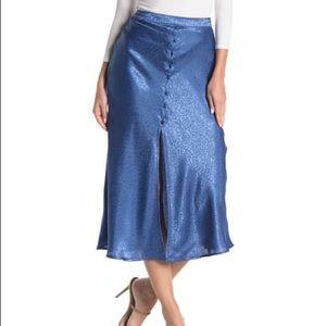 NSR Blue Tonal Leopard Print Satin Midi Skirt